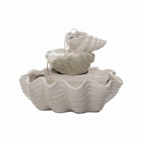Foreside Home & Garden Tiered Shell Indoor Water Fountain With Pump - 9x9.25x7