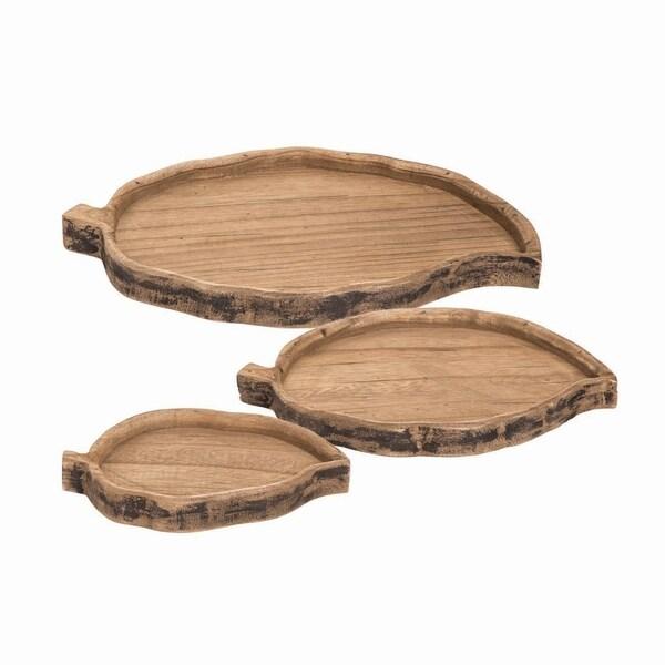 Wooden Leaf Trays, Set of 3