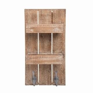 Double Wall Wood Shelf with Metal Hooks