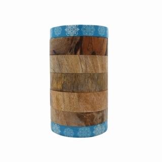 Mango Wood Canister Blue