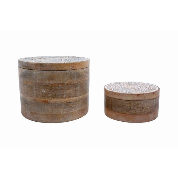 Carved Wood Boxes, Set of 2
