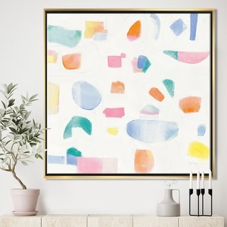 Designart 'Joy Geometric Simple' Mid-Century Modern Framed Canvas - Multi-color