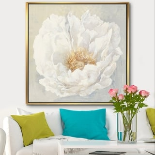 Designart 'White Serene Peony' Cottage Framed Canvas - White