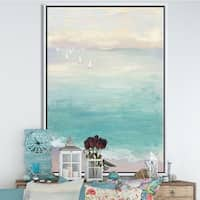 Designart 'From the Shore' Traditional Framed Canvas - Blue