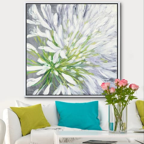 Designart 'Flower Cleome Splash II' Traditional Floral Framed Canvas - Green