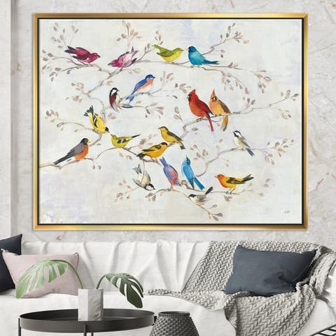 Designart 'Multi-Color Bird on Tree' Modern Farmhouse Framed Canvas - Multi-color
