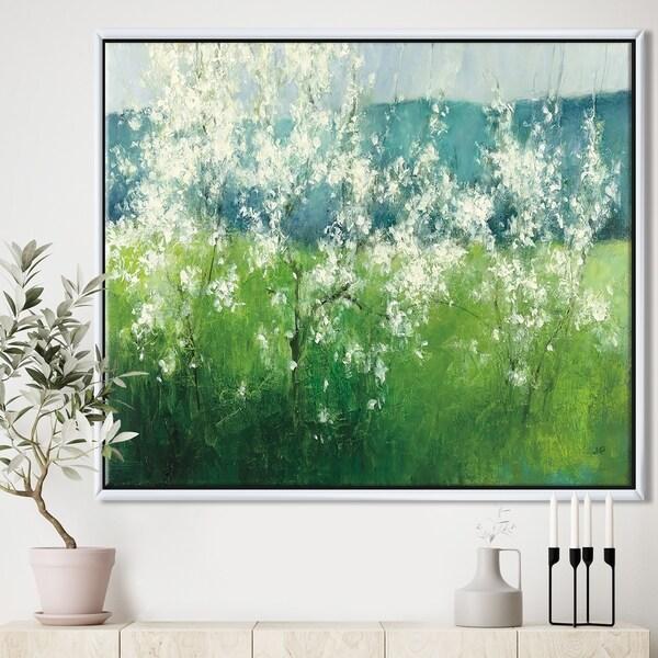 Designart 'Green Mountain Spring' Cottage Framed Canvas - Blue/Green