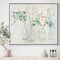 Designart 'Beautiful Flower Composition' Cottage Framed Canvas - Grey/Green