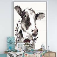 Designart 'Cow Portrait Country Life' Wildlife Framed Canvas - Grey/Brown