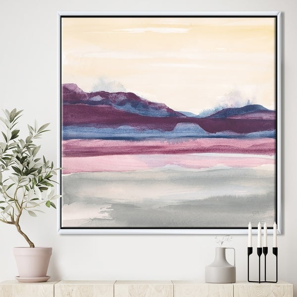 Designart 'Purple Rock landscape' Shabby Chic Framed Canvas - Grey/Blue