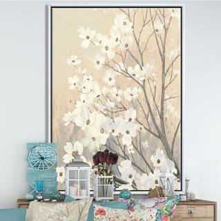 Silver Orchid 'Brown onn Grey Blossoms' Traditional Framed Canvas - Brown