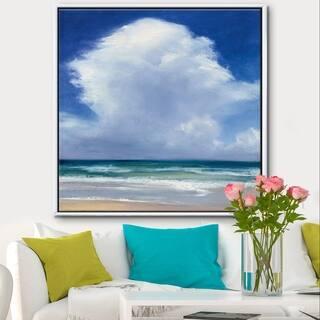 Silver Orchid 'Beach Clouds II' Coastal Landscape Framed Canvas - Blue/White
