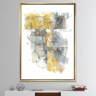 Designart 'Moving In and Out of Traffic II Yellow Grey' Geometric Framed Canvas - Grey