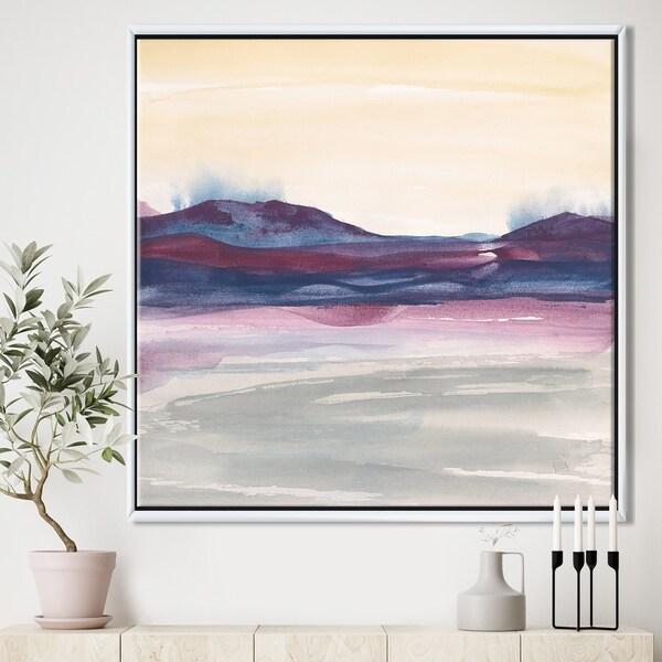 Designart 'Purple Rock landscape II' Shabby Chic Framed Canvas - Grey/Blue
