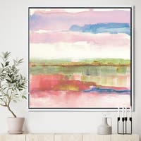 Designart 'Influence of Line and Color Gold Bright' Shabby Chic Framed Canvas - Multi-color