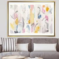 Designart 'Multi-Color Geometric Bars II' Modern & Contemporary Framed Canvas - Multi-color