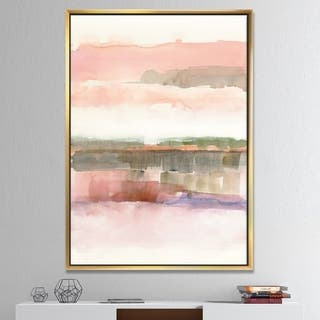 Designart 'Influence of Line and Color' Traditional Floral Framed Canvas - Green/Pink