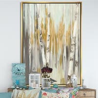 Designart 'Silver and Yellow Birch Forest' Cottage Framed Canvas - Grey