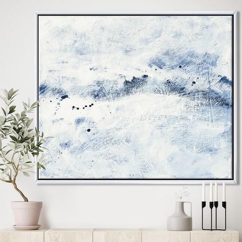 Designart 'Blue Wipe Out' Traditional Framed Canvas - Blue/White