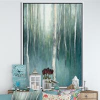 Designart 'Green Forest Dream' Traditional Landscape Framed Canvas - Blue/Green
