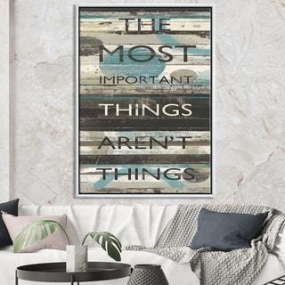 Designart 'Blue Zephyr Quote II' Cottage Inspirational Framed Canvas - Grey/Blue