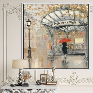 Designart 'Love in Paris IV' Romantic French Country Framed Canvas - Multi-color