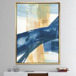 Designart 'Indigo Panel III' Glam Modern Framed Canvas - Blue