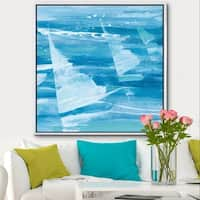 Designart 'From the Shore I' Nautical & Beach Framed Canvas - Blue