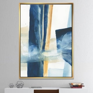 Designart 'Indigo Panel IV' Glam Modern Framed Canvas - Blue