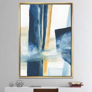 Designart 'Indigo Panel IV' Glam Modern Framed Canvas - Blue