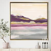 Designart 'Painted Purple and Gold Landscape II' Shabby Chic Framed Canvas - Multi-color