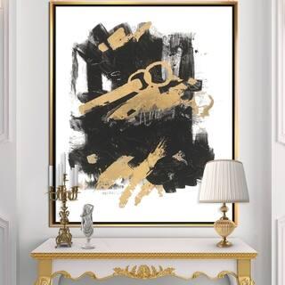 Designart 'Gold and Black drift I' Modern Glam Framed Canvas
