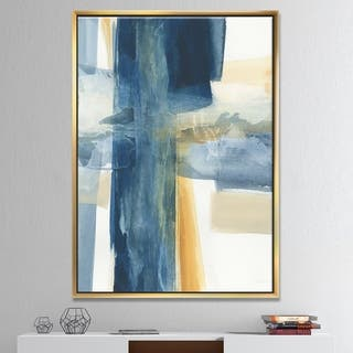 Designart 'Indigo Panel VI' Glam Modern Framed Canvas - Blue