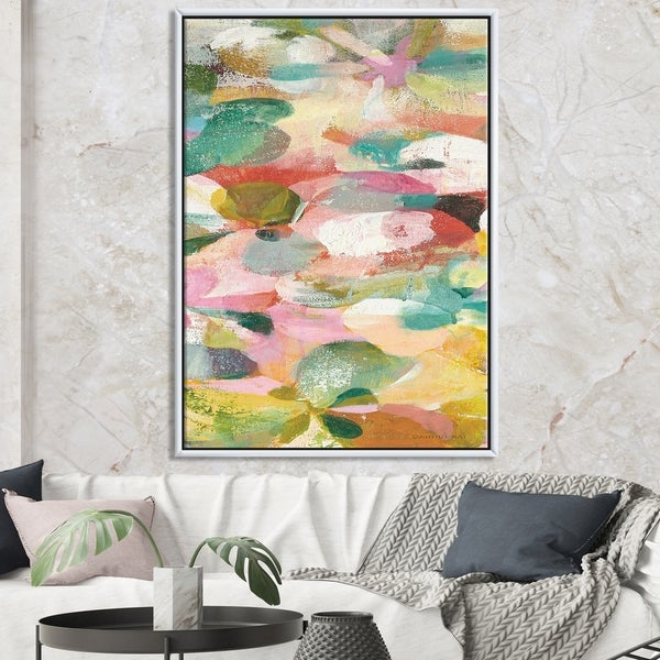 Designart 'Abstract Pastel Flower Painting with Pink and Blue' Cabin & Lodge Framed Canvas - Multi-color