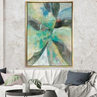 Designart 'In the Valley Abstract I' Traditional Framed Canvas - Blue