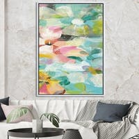 Designart 'Handpainted Abstract Flowers in Blue and Pink' Cabin & Lodge Framed Canvas - Multi-color