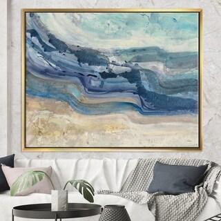 Designart 'Coast Blue Sea Waves Watercolour' Modern Farmhouse Framed Canvas