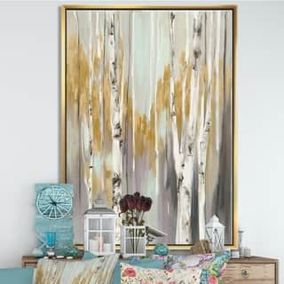 Silver Orchid 'Silver and Yellow Birch Forest II' Cottage Framed Canvas - Grey/Brown