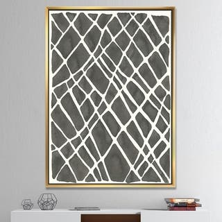 Designart 'Minimalist Graphics V' Transitional Framed Canvas - Black