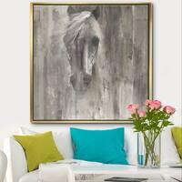 Designart 'Farmhouse Horse' Modern Farmhouse Framed Canvas - Grey