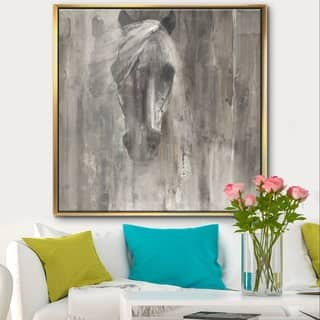 Designart 'Farmhouse Horse' Modern Farmhouse Framed Canvas - Grey