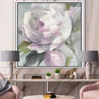 Designart 'Twilight Peony' Shabby Chic Framed Canvas - Grey