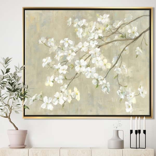 Designart 'Dogwood in Spring Neutral' Farmhouse Framed Canvas - Grey/Brown