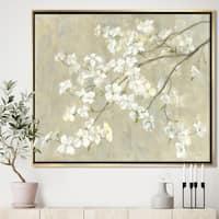 Designart 'Dogwood in Spring Neutral' Farmhouse Framed Canvas - Grey/Brown