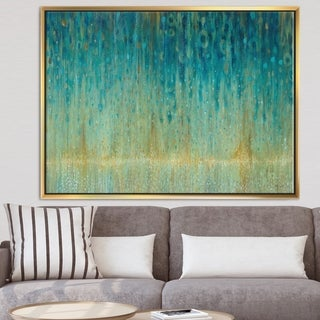 Designart 'Rain Abstract Panel' Modern & Contemporary Framed Canvas - Blue