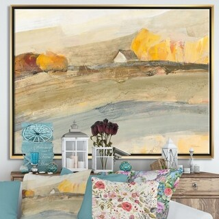 Designart 'Orange Brown Farm House' Modern Farmhouse Framed Canvas - Grey