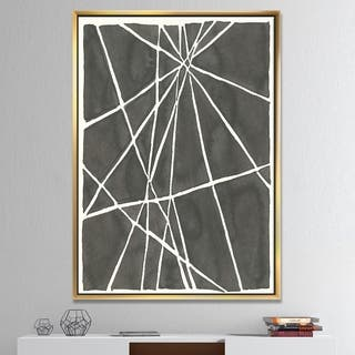 Designart 'Minimalist Graphics II' Transitional Framed Canvas - Black