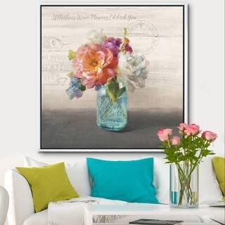 Designart 'French Cottage Bouquet I Mothers' Cottage Framed Canvas - Grey/Blue