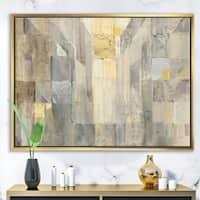 Designart 'Gold Square Watercolor' Glam Framed Canvas - Brown