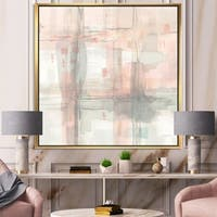 Designart 'Intersect II Grey' Pink Modern Framed Canvas - Grey